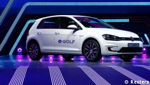 A Volkswagen eGolf car is displayed during a media preview day at the Frankfurt Motor Show (IAA) September 10, 2013. The world's biggest auto show is open to the public September 14 -22. REUTERS/Ralph Orlowski (GERMANY - Tags: BUSINESS TRANSPORT)