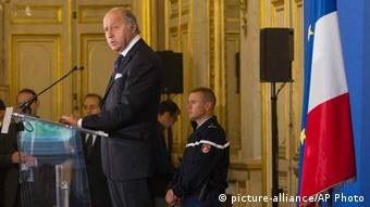 France's Foreign Minister Laurent Fabius speaks during a press meeting at the Quai d' Orsay, in Paris Tuesday, Sept. 10, 2013. (Photo: AP Photo/Jacques Brinon)