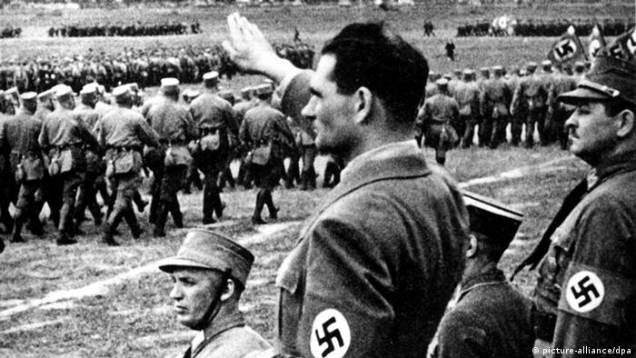 Archive photo of Hess with his right arm raised during a Nazi parage