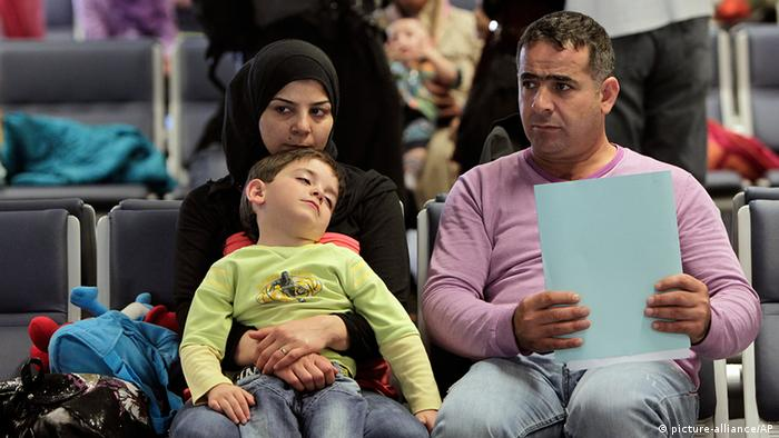 Syrian refugees at Beirut airport, on the way to Germany
