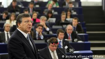 President of the European Commission Jose Manuel Barroso delivers his speech on the State of the Union, Wednesday Sept. 11, 2013 at the European Parliament in Strasbourg, eastern France. Barroso is urging swift progress in the creation of the bloc's planned banking union, which is considered key to stabilizing its financial system. (AP Photo/Christian Lutz)