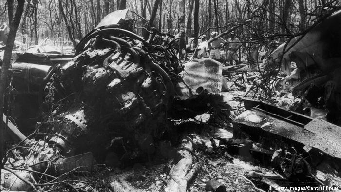 The plane wreck after the crash that cost the lives of Dag Hammarskjöld and 15 of his colleagues