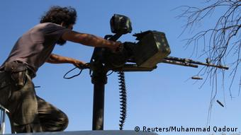 Syrian soldier with gun