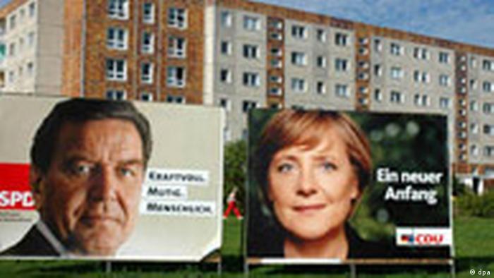 Агитация на выборах в бундестаг в 2005 году: плакат СДПГ с портретом Шредера (слева) и плакат ХДС с портретом Меркель