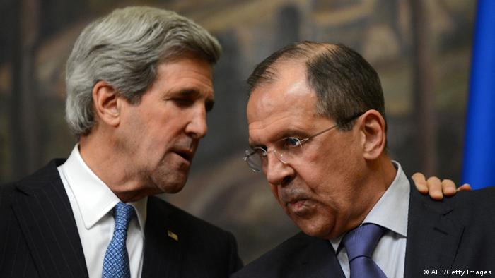 US Secretary of State John Kerry (L) and his Russian counterpart Sergei Lavrov speak as attend their joint press conference in Moscow on May 7, 2013. Russia and the United States agreed today at top-level talks to push both the Syrian regime and rebels to find a political solution to their conflict and to hold an international peace conference, the Russian foreign minister said after talks with US counterpart John Kerry in Moscow. AFP PHOTO / KIRILL KUDRYAVTSEV (Photo credit should read KIRILL KUDRYAVTSEV/AFP/Getty Images)