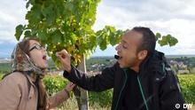 Nasser wirft Kristina eine Traube in den Mund. Im Hintergrund ist eine Weinrebe zu sehen.