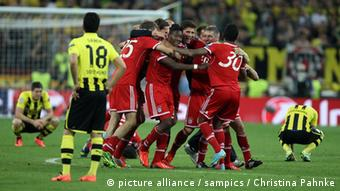 Bayern players celebrate a goal in the football Championsleague final 26.5.2013 London Wembley Stadion Copyright by : sampics Photographie