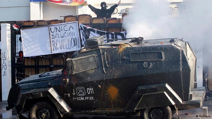 Manifestaciones en Chile durante el 30 aniversario del golpe militar.