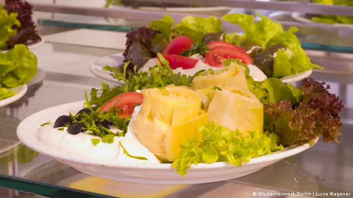 Салат с артишоками в студенческой столовой Veggie N°1 в Берлине