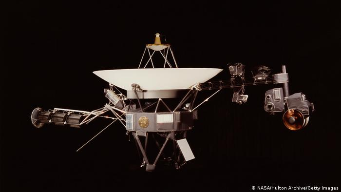 A NASA image of one of the Voyager space probes. Voyager 1 and its identical sister craft Voyager 2 were launched in 1977 to study the outer Solar System and eventually interstellar space. (Photo by NASA/Hulton Archive/Getty Images)