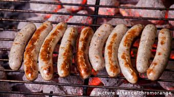 German Bratwurst on a grill