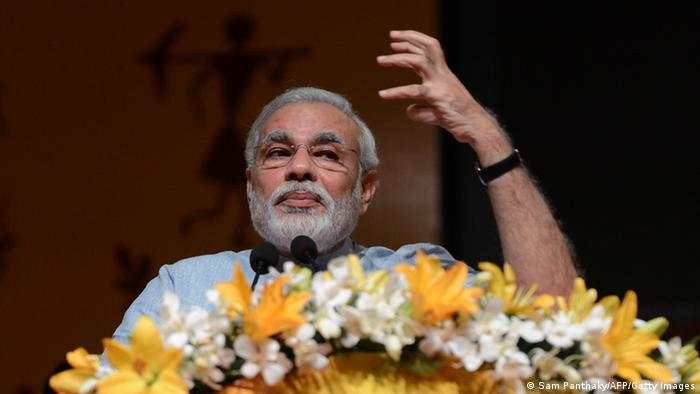 Gujarat state Chief Minister Narendra Modi speaks during the Vibrant Gujarat 2013, Global Agriculture summit at Mahatma Mandir in Gandhinagar, some 30 kms from Ahmedabad on September 9, 2013.