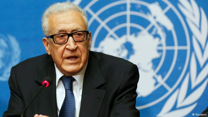 U.N. Special Representative Lakhdar Brahimi makes a statement to the media after hosting a meeting between U.S. Secretary of State John Kerry and Russian Foreign Minister Sergei Lavrov discussing the ongoing crisis in Syria at the United Nations offices in Geneva, September 13, 2013. REUTERS/Larry Downing (SWITZERLAND - Tags: POLITICS CIVIL UNREST)
