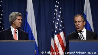 US Secretary of State John Kerry (L) holds a joint press conference with Russian Foreign Minister Sergey Lavrov in Geneva on September 14, 2013 after they met for talks on Syria's chemical weapons. Washington and Moscow have agreed a deal to eliminate Syria's chemical weapons, Kerry said after talks with Lavrov. AFP PHOTO/PHILIPPE DESMAZES (Photo credit should read PHILIPPE DESMAZES/AFP/Getty Images)