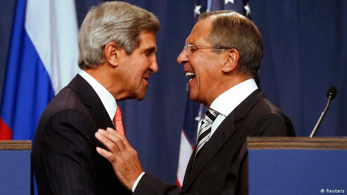 US Secretary of State John Kerry (L) and Russian Foreign Minister Sergei Lavrov (R) shake hands (photo via Reuters)