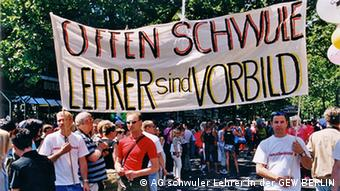 Homosexual teachers at a demonstration carry a banner that reads Openly gay teachers are role models (Photo: AG schwuler Lehrer in der GEW BERLIN)