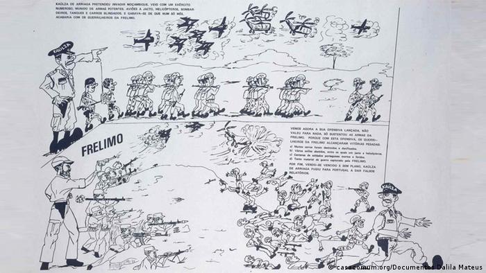 Cartaz da FRELIMO publicado por ocasião da Operação Nó Górdio, com a qual o general Kaúlza de Arriaga pretendia evitar a progressão da luta armada (1970)