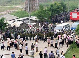 Massenprotest in Taishicun Provinz Guangdong