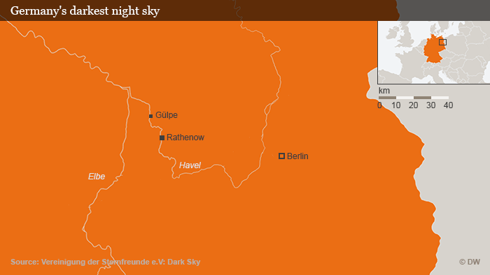 An orange-and-gray map shows the town of Gülpe roughly 100 kilometers west of Berlin.
