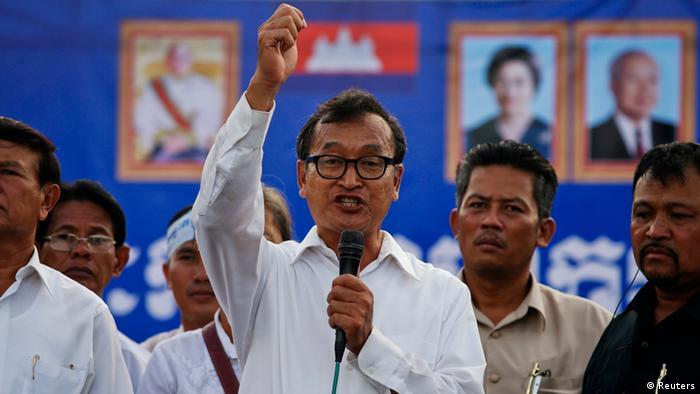 Kambodscha Wahlen Proteste Sam Rainsy 16.09.2013 in Phnom Penh (Reuters)