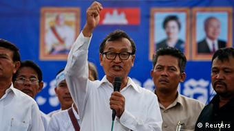 Sam Rainsy at a campaign rally in Phnom Penh