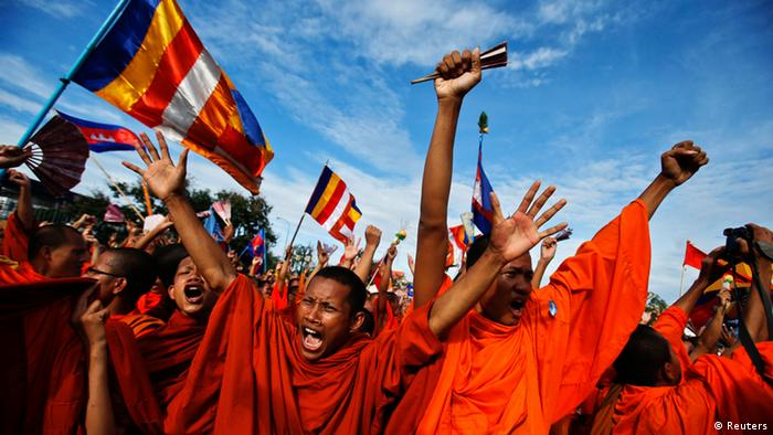 Buddhist monks protesting in Phnom Penh