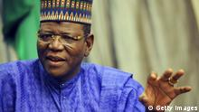 Jigawa State Governor Sule Lamido, speaks on September 27, 2010 in Dutse about the flood disaster in Nigeria's north. Officials in Jigawa state say two dams opened last month caused flooding that displaced some two million people. They have heavily criticised the agency in charge of the barriers, alleging similar episodes have occurred in the past. AFP PHOTO / PIUS UTOMI EKPEI (Photo credit should read PIUS UTOMI EKPEI/AFP/Getty Images)