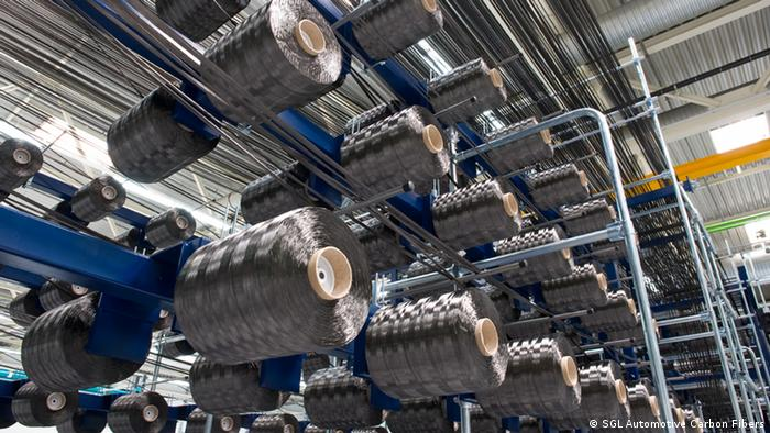 Carbon-fibers are woven into mats and rolled onto spools Copyright: SGL Automotive Carbon Fibers