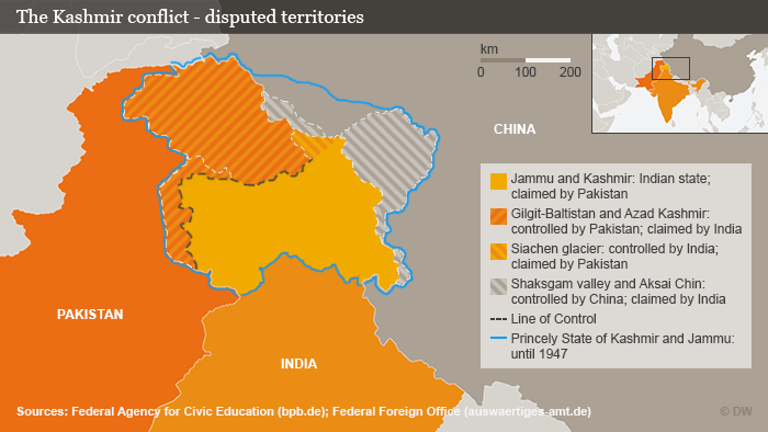 India and Pakistan have gone to war three times over the disputed territory.