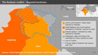 Infografik umstrittene Gebiete in der Krisenregion Kaschmir Englisch