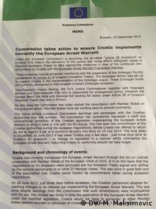 Dokument der EU-Kommission (Foto: DW/ M. Maksimovic)