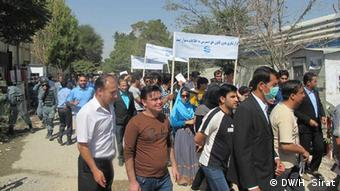 Afghan journalists in Kabul, demonstrate for their rights (Photo: Hussain Sirat /DW)