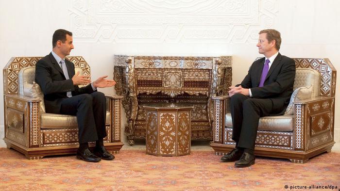 Bundesaußenminister Guido Westerwelle führt in Damaskus eine Unterredung mit dem syrischen Präsidenten Baschar al-Assad. (Foto: Thomas Trutschel/ photothek.net/dpa)