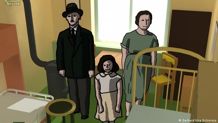 A scene from the game Anne Frank in the parents' room, showing Anne Frank, Otto Frank and Edith Frank as avatars. Copyright: Gerhard Kira Schmieja ### Achtung: Nur im Zusammenhang mit der Berichterstattung über dieses Spiel zu verwenden! ###
