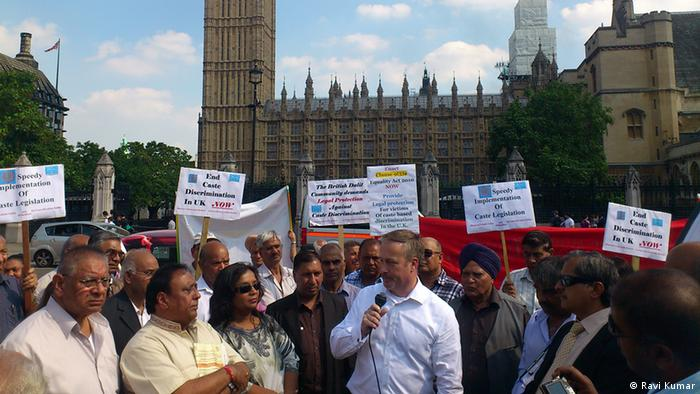 Protestors attend an anti-caste discrimination demonstration in London (Photo: Ravi Kumar)