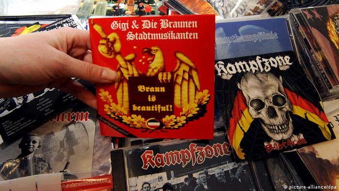 A hand holding the CD of a right-wing extremist musical group