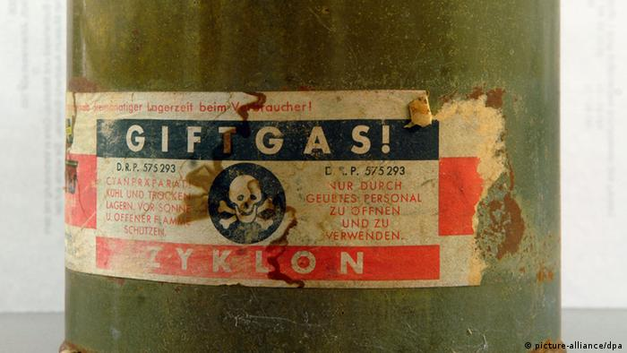 A can of Zyklon B on display at Auschwitz (picture-alliance/dpa)