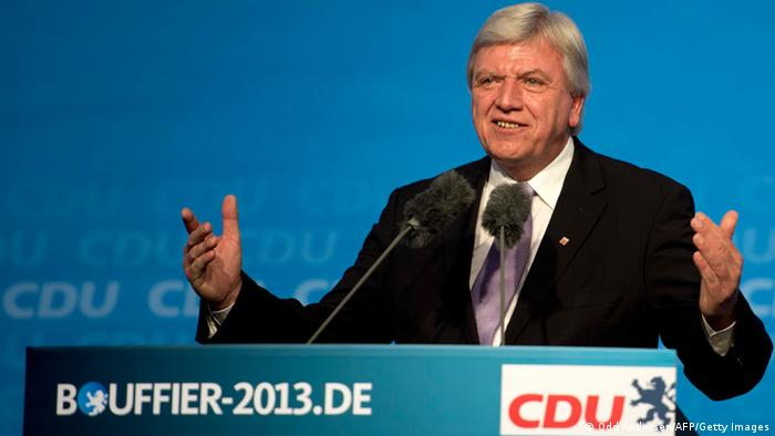 Hesse Premier Volker Bouffier speaks at an election campaign event of his German Christian Democratic Union (CDU) party in the central German town of Fulda on September 19, 2013. Germans go to the polls on September 22. AFP PHOTO / ODD ANDERSEN (Photo credit should read ODD ANDERSEN/AFP/Getty Images)