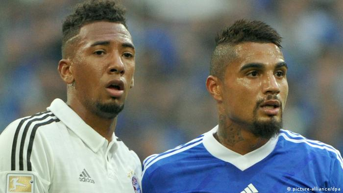 Bayern Munich thumped Schalke 4-0 in Saturday's later game, meaning the bragging rights in the Boateng family belonged to the former's Jerome (right) rather than the latter's Kevin-Prince. Photo: dpa