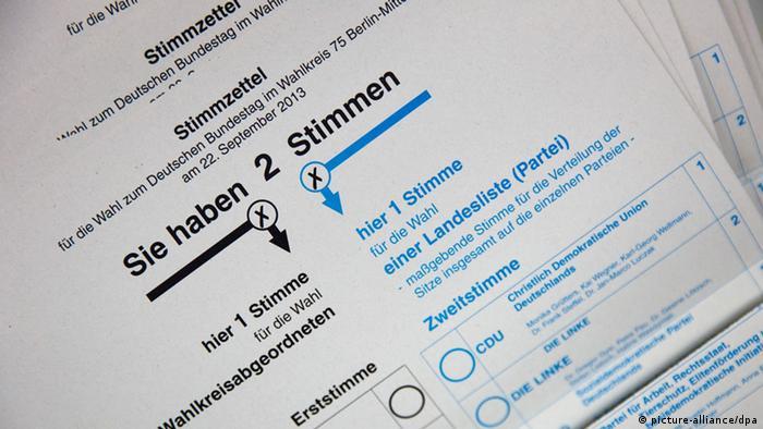 Bundestagswahl Deutschland 22.09.2013 Stimmzettel (picture-alliance/dpa)