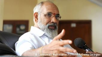Sri Lanka's main Tamil party Tamil National Alliance (TNA) party's chief ministerial candidate C. V. Wigneswaran speaks to reporters in Jaffna, 400 kilometres (250 miles) north of the capital Colombo on September 22, 2013. (Photo: AFP)