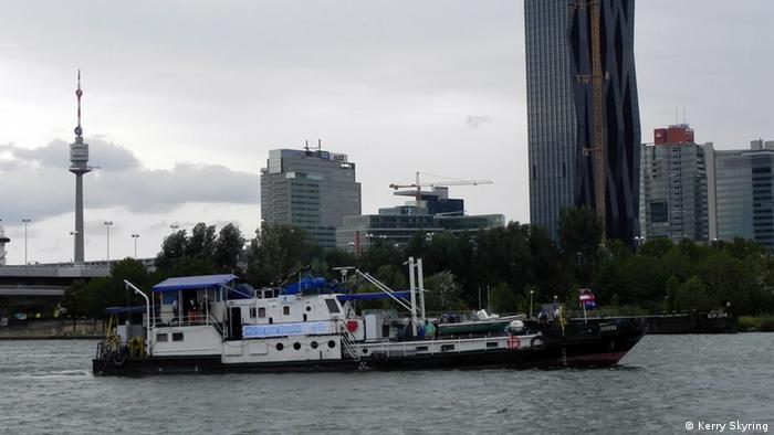 Science ship Istros on the Danube at Vienna (Photo: Kerry Skyring)