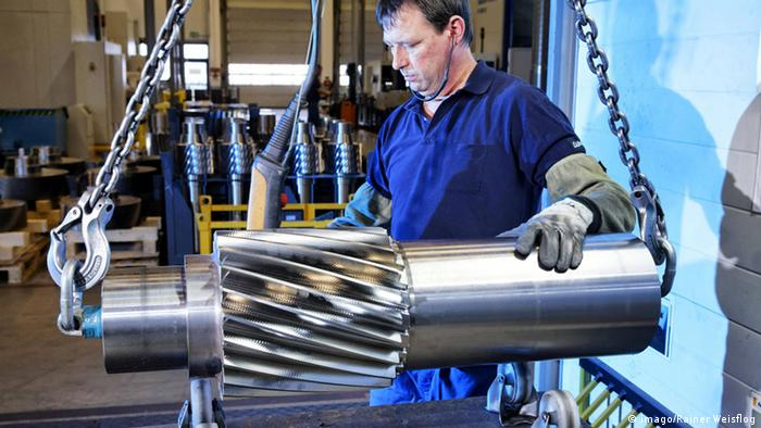 A gearbox for a wind turbine being made in Dresden Copyright Imago Rainer Weisflog out