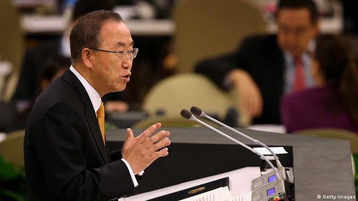 NEW YORK, NY - SEPTEMBER 24: United Nations Secretary General Ban ki-Moon gives his annual report to the UN General Assembly on September 24, 2013 in New York City. The use of chemical weapons in Syria and Iran's nuclear ambitions are expected to feature heavily during the 68th General Assembly, with U.S. President Barack Obama and Iranian President Hassan Rouhani scheduled to speak. (Photo by John Moore/Getty Images)