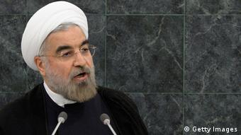 NEW YORK, NY - SEPTEMBER 24: Iranian President Hassan Rouhani addresses the U.N. General Assembly on September 24, 2013 in New York City. Over 120 prime ministers, presidents and monarchs are gathering this week for the annual meeting at the temporary General Assembly Hall at the U.N. headquarters while the General Assembly Building is closed for renovations. (Photo by Brendan McDermid-Pool/Getty Images)