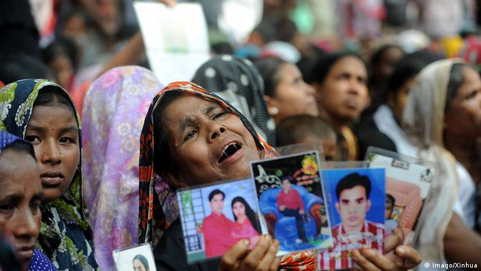 Relatives of missing garment workers stage a protest in Dhaka