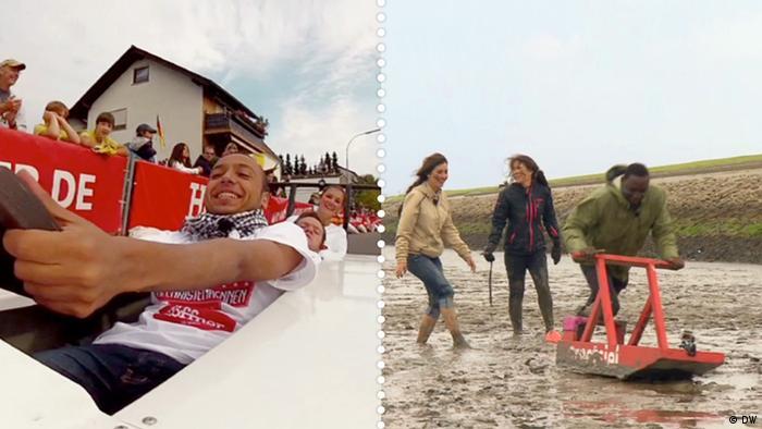 Beide Teams treten in einem Rennen gegeneinander an – Team Süd fährt in einer Seifenkiste auf der Straße und Team Nord schiebt einen Schlickschlitten über den Strand
