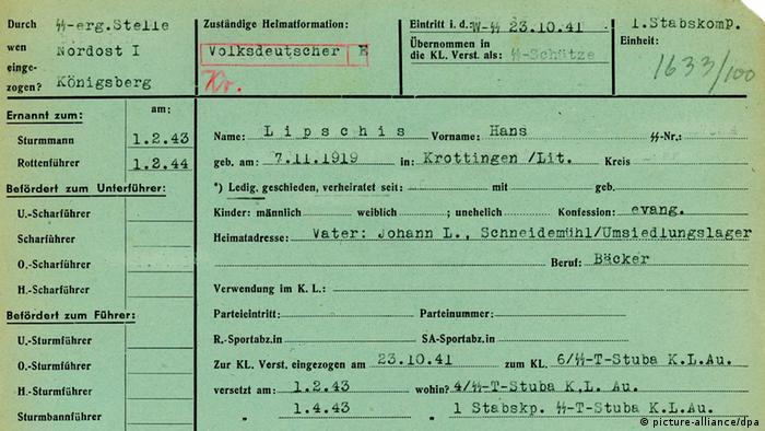Die Personalakte des ehemaligen Rottenführers Hans Lipschis in Auschwitz-Birkenau (Foto: Archive of the Auschwitz-Birkenau State Museum/dpa)