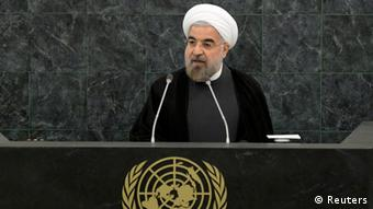 Iran's President Hassan Rohani addresses a High-Level Meeting on Nuclear Disarmament during the 68th United Nations General Assembly at U.N. headquarters in New York, September 26, 2013. REUTERS/Mike Segar (UNITED STATES - Tags: POLITICS)