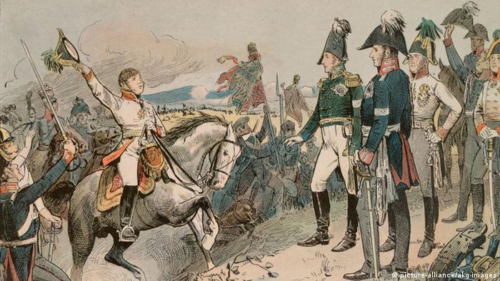Гонец оповещает царя Александра I, короля Фридриха-Вильгельма III и императора Франца I о победе над Наполеоном
